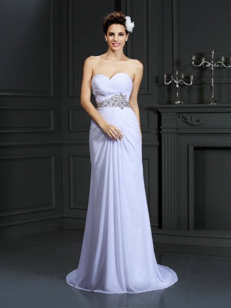 Fashion Sheath/Column Beading Sleeveless Sweetheart Long Chiffon Wedding Dresses
