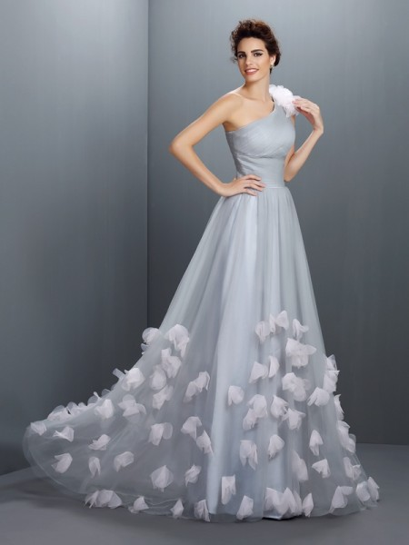 Stylish A-Line/Princess Hand-Made Flower One-Shoulder Sleeveless Long Net Dresses