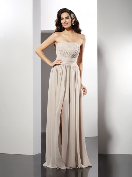 Fashion Sheath/Column Pleats Sleeveless Strapless Long Chiffon Dresses