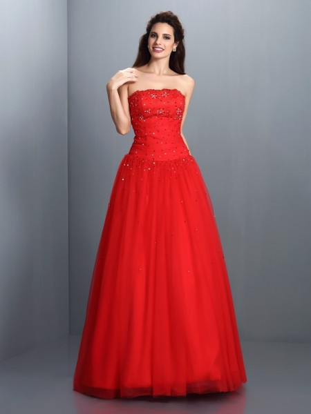 Stylish Ball Gown Beading Sleeveless Strapless Long Organza Quinceanera Dresses