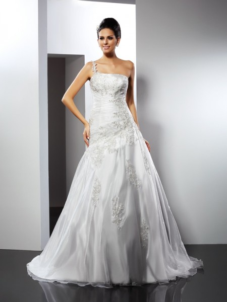 Stylish A-Line/Princess Applique Sleeveless One-Shoulder Long Satin Wedding Dresses