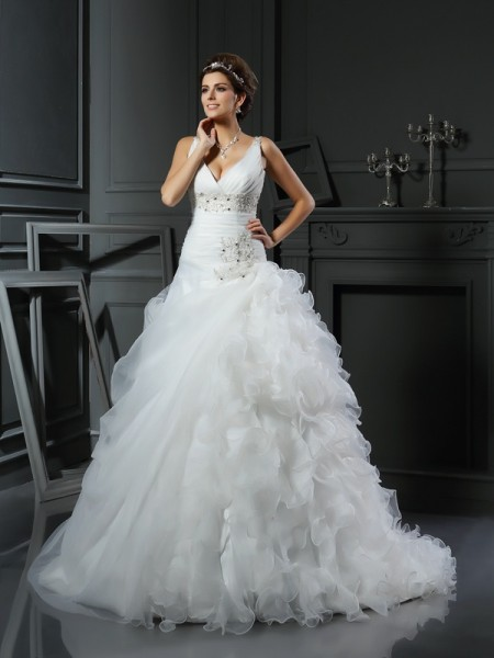 Stylish Ball Gown Ruffles Sleeveless V-neck Long Organza Wedding Dresses