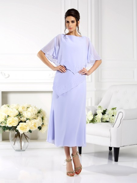 Fashion Sheath/Column 1/2 Sleeves Long Bateau Chiffon Mother of the Bride Dresses