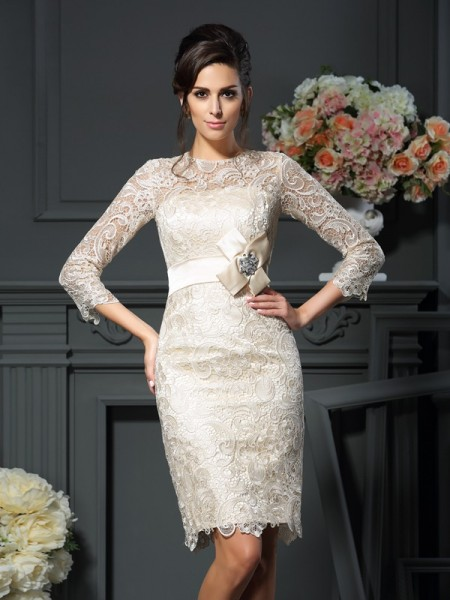 Stylish Sheath/Column Bowknot 3/4 Sleeves Scoop Short Lace Mother of the Bride Dresses