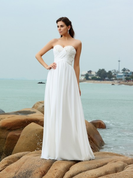 Stylish A-Line/Princess Beading Sleeveless Sweetheart Long Chiffon Beach Wedding Dresses