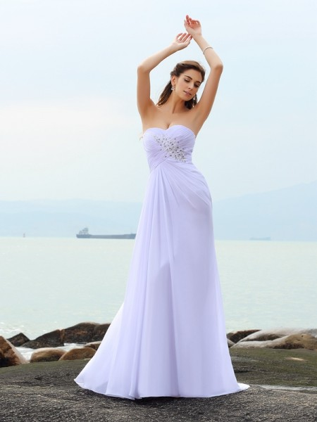 Fashion Sheath/Column Beading Sleeveless Sweetheart Long Chiffon Beach Wedding Dresses