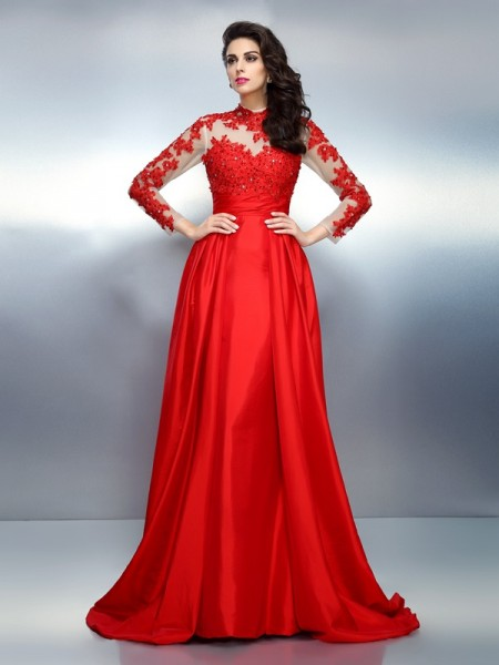 Fashion A-Line/Princess Applique Long Sleeves High Neck Long Satin Dresses