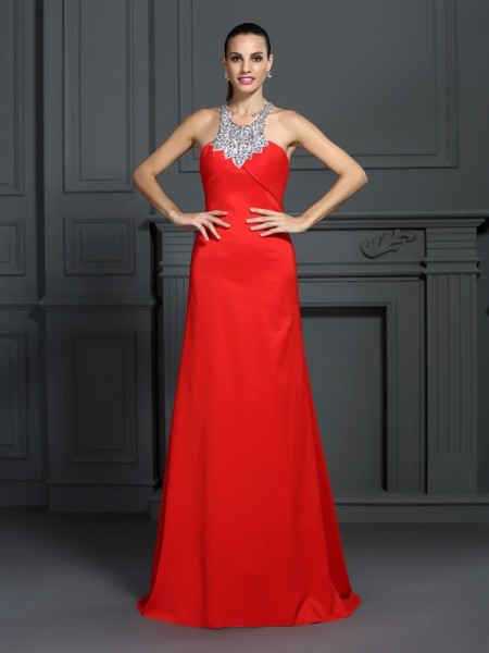 Fashion A-Line/Princess Beading Sleeveless High Neck Long Elastic Woven Satin Dresses
