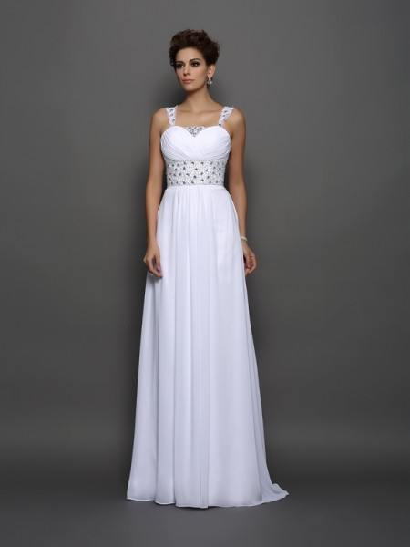 Fashion A-Line/Princess Beading Sleeveless Straps Long Chiffon Wedding Dresses
