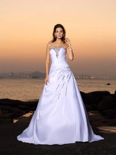 Fashion A-Line/Princess Beading Sleeveless Strapless Long Satin Beach Wedding Dresses