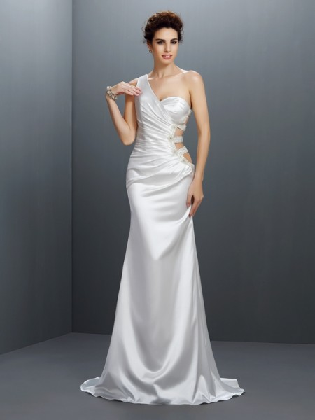 Stylish Trumpet/Mermaid Beading Sleeveless One-Shoulder Long Elastic Woven Satin Dresses