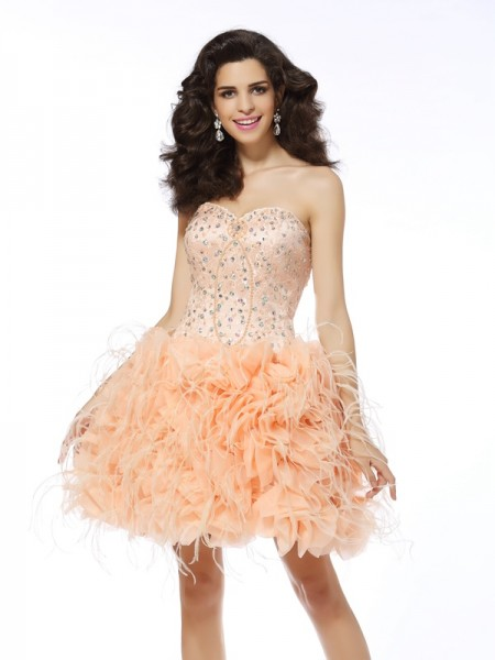 Stylish A-Line/Princess Beading Sleeveless Sweetheart Short Organza Cocktail Dresses