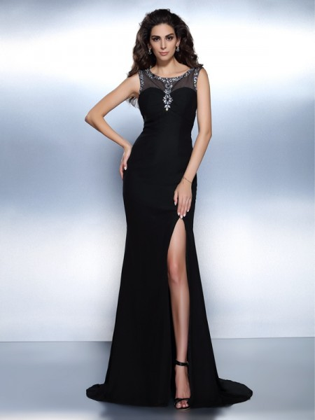 Stylish Trumpet/Mermaid Beading Sleeveless Bateau Long Chiffon Dresses
