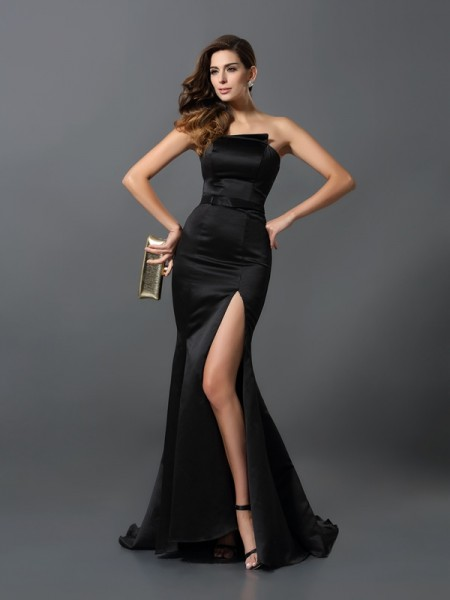Fashion Sheath/Column Sash/Ribbon/Belt Sleeveless Strapless Long Satin Dresses