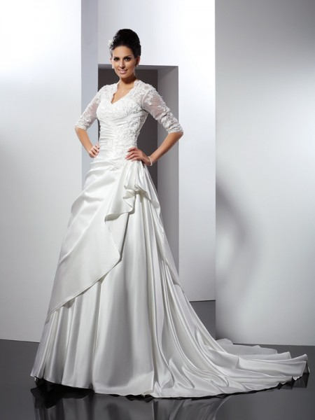 Fashion A-Line/Princess Applique 1/2 Sleeves V-neck Long Satin Wedding Dresses