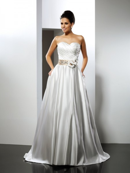 Stylish A-Line/Princess Hand-Made Flower Sweetheart Sleeveless Long Satin Wedding Dresses