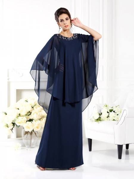 Fashion A-Line/Princess 3/4 Sleeves Long Scoop Chiffon Mother of the Bride Dresses