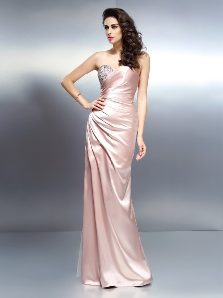 Stylish Trumpet/Mermaid Beading Sleeveless Sweetheart Long Elastic Woven Satin Dresses