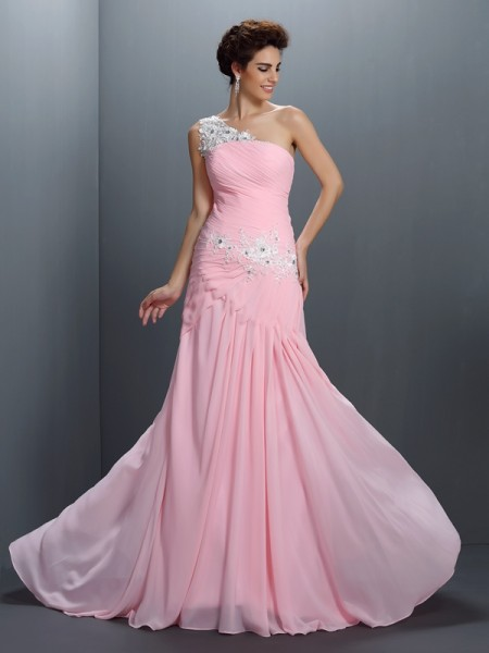 Stylish A-Line/Princess Beading Sleeveless One-Shoulder Applique Long Chiffon Dresses