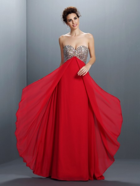 Fashion A-Line/Princess Beading Paillette Sweetheart Sleeveless Long Chiffon Dresses