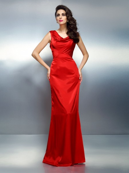 Stylish Trumpet/Mermaid Sleeveless Long V-neck Silk like Satin Dresses