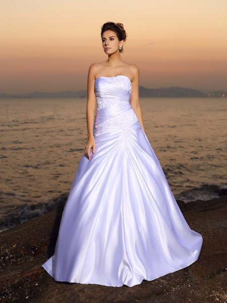 Fashion Ball Gown Beading Sleeveless Strapless Long Satin Beach Wedding Dresses