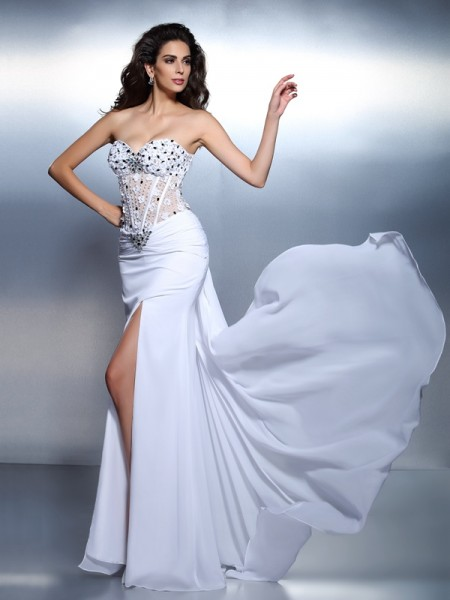 Fashion Trumpet/Mermaid Pleats Sleeveless Sweetheart Long Chiffon Dresses