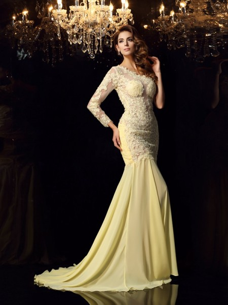 Fashion Trumpet/Mermaid Applique Long Sleeves One-Shoulder Long Chiffon Dresses