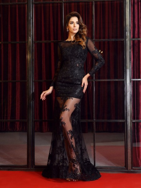 Fashion Trumpet/Mermaid Applique Long Sleeves Bateau Long Lace Dresses
