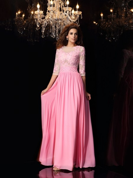 Fashion A-Line/Princess Applique 1/2 Sleeves Scoop Long Silk like Satin Dresses