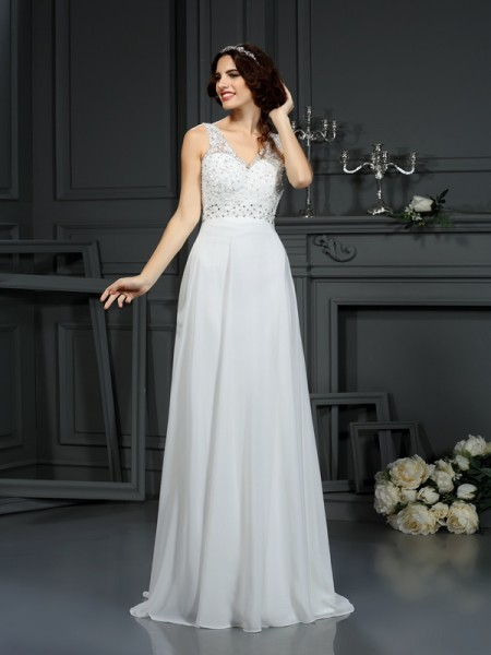 Stylish A-Line/Princess Lace Sleeveless V-neck Long Chiffon Wedding Dresses