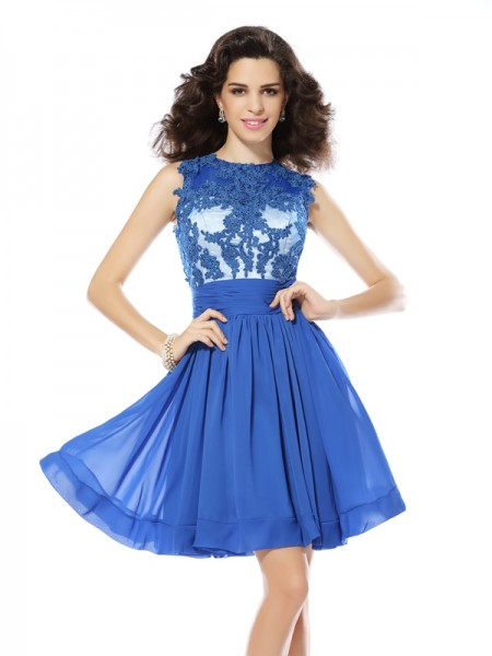 Stylish A-Line/Princess Applique Sleeveless Scoop Short Chiffon Cocktail Dresses