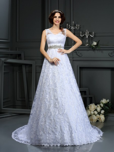 Stylish A-Line/Princess Lace Sleeveless V-neck Long Satin Wedding Dresses