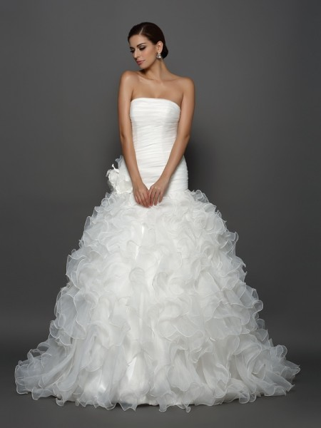 Fashion Ball Gown Hand-Made Flower Strapless Sleeveless Long Organza Wedding Dresses