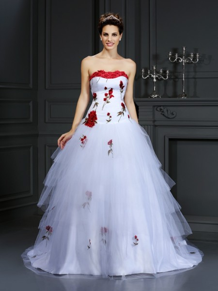 Stylish Ball Gown Hand-Made Flower Strapless Sleeveless Long Satin Wedding Dresses