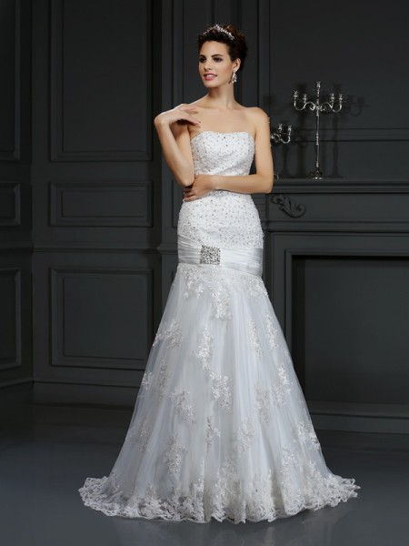 Fashion Sheath/Column Applique Sleeveless Strapless Long Satin Wedding Dresses