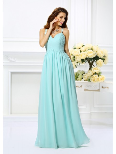 Fashion A-Line/Princess Straps Pleats Spaghetti Sleeveless Long Chiffon Dresses
