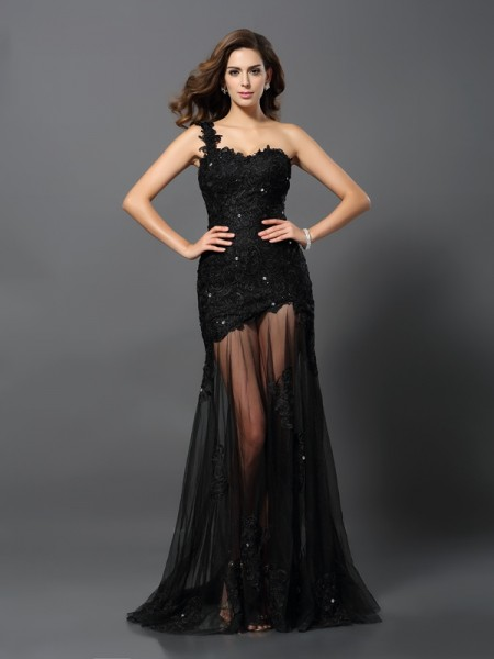 Stylish Sheath/Column Applique Sleeveless One-Shoulder Long Lace Dresses