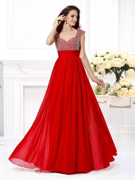 Fashion A-Line/Princess Beading Sleeveless Straps Paillette Long Chiffon Dresses