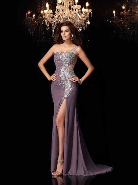 Stylish Trumpet/Mermaid Rhinestone Sleeveless One-Shoulder Long Chiffon Dresses