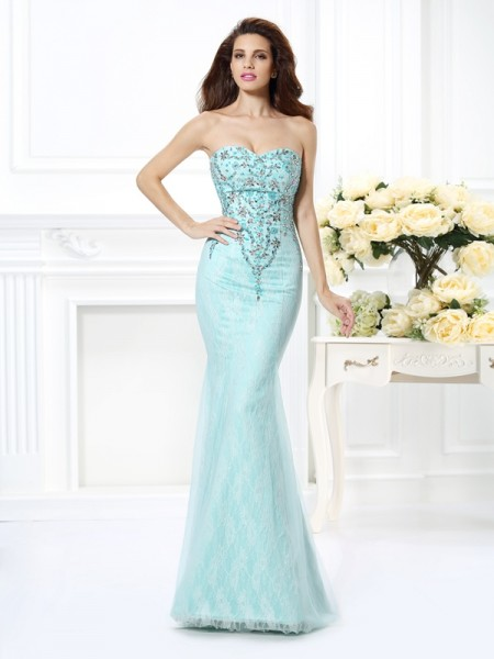 Stylish Trumpet/Mermaid Beading Lace Sweetheart Sleeveless Long Net Dresses