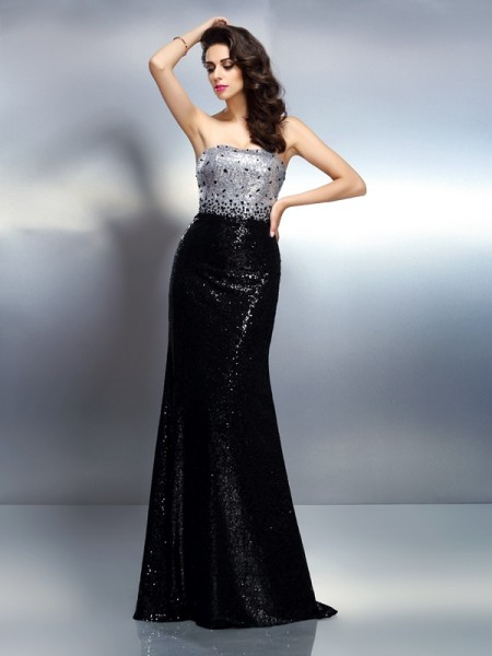 Fashion Trumpet/Mermaid Sequin Sleeveless Strapless Long Sequins Dresses