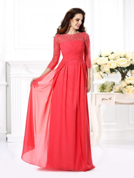 Stylish A-Line/Princess Beading 3/4 Sleeves Scoop Long Chiffon Dresses