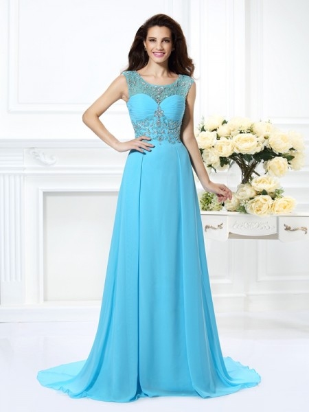 Fashion A-Line/Princess Beading Sleeveless Scoop Long Chiffon Dresses