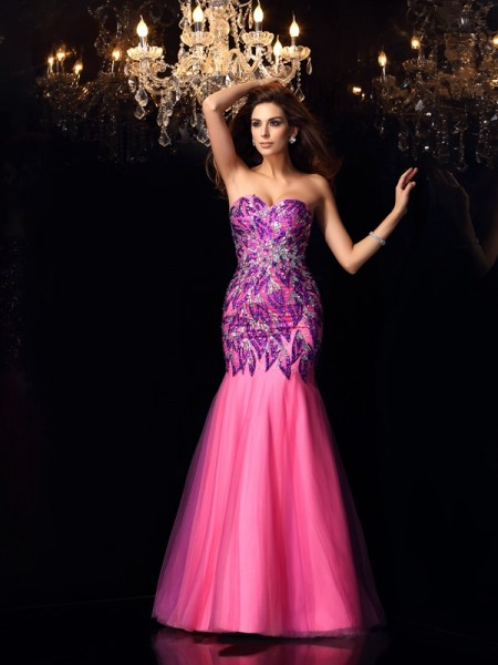 Stylish Trumpet/Mermaid Beading Sleeveless Sweetheart Long Net Dresses