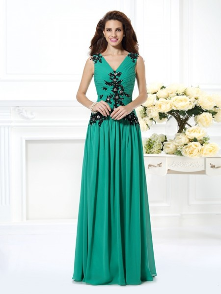 Stylish A-Line/Princess Beading Applique V-neck Sleeveless Long Chiffon Dresses