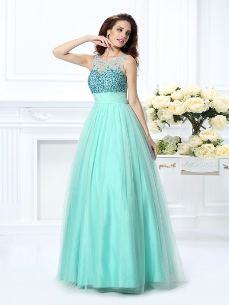 Stylish Ball Gown Beading Sleeveless Bateau Long Chiffon Quinceanera Dresses