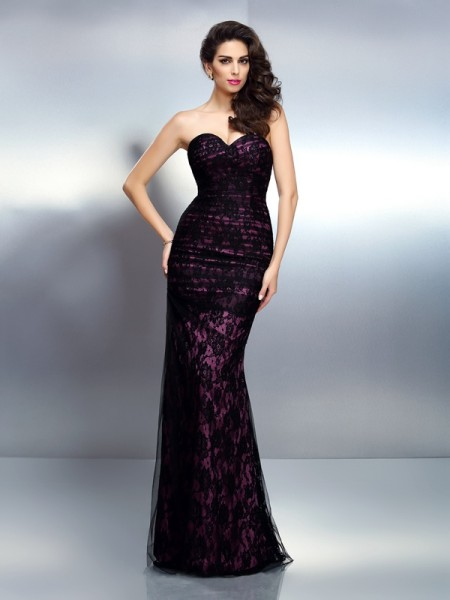 Fashion Trumpet/Mermaid Lace Sleeveless Sweetheart Long Elastic Woven Satin Dresses