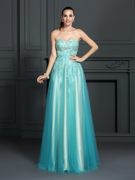 Fashion A-Line/Princess Applique Sleeveless Sweetheart Long Elastic Woven Satin Dresses