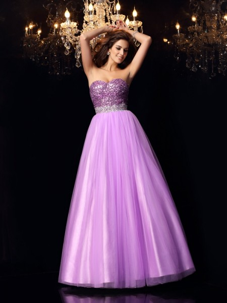 Stylish Ball Gown Sequin Sleeveless Sweetheart Long Elastic Woven Satin Quinceanera Dresses